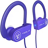 TREBLAB XR100 Bluetooth Sport Headphones, Best Wireless Earbuds for Running Workout, Noise Cancelling Sweatproof Cordless Headset for Gym Use, True Beats Earphones w/Mic, iPhone Android (Purple)