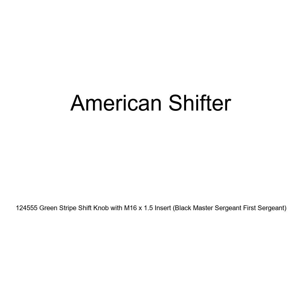 American Shifter 124555 Green Stripe Shift Knob with M16 x 1.5 Insert Black Master Sergeant First Sergeant