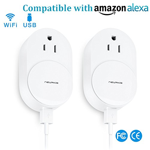 WiFi Smart Plug, Wireless Smart Outlet Socket Compatible With Alexa, Extra Dual USB Ports, Timing Function, Remote Control Your Devices Anywhere, Rotation Cap to Protect kid's Safety (2 Pack) by NewRice