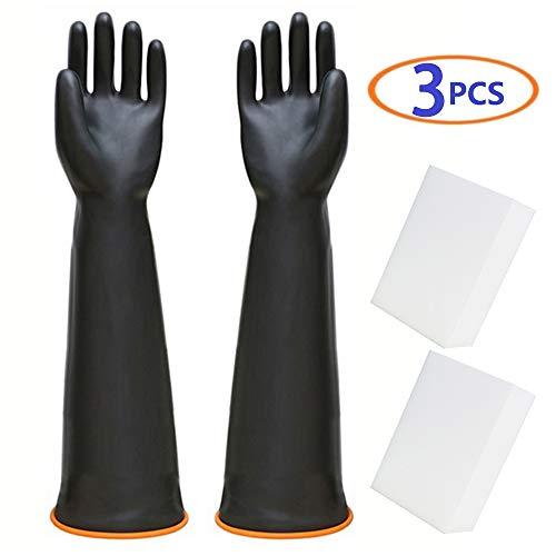 (BLSMU Aquarium Gloves,Fish Tank Scrub,Fish Tank Cleaning Tools Set,Keep Hands & Arms Dry,Prevents Contamination,Allergies,Nano Sponge,Saltwater Aquarium Supplies)