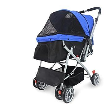 NAUY- Carretón de cuatro ruedas para mascotas Carro de dos vías plegable y carrocería para