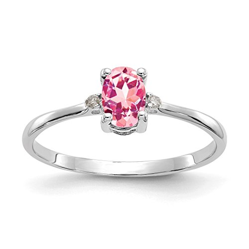 ICE CARATS 14kt White Gold Diamond Pink Tourmaline Birthstone Band Ring Size 6.00 Stone October Oval Style Fine Jewelry Ideal Gifts For Women Gift Set From (Cushion Very Fine Diamond Solitaire)