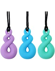 Panny & Mody Sensory Chew Necklace for Kids Boys Girls(3 Pack) – Maori Twist Pendant Chewy Teething Necklaces for Kids ADHD Autistic Autism Biting Needs(Blue/Green/Purple)