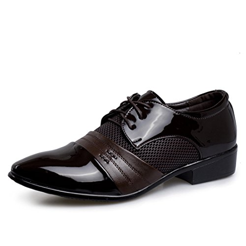 Xiafen Herenmode Comfortabele Lederen Jurk Oxfords Schoenen Voor Zakelijke En Casual Bruin