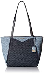 Michael Kors Whitney tote styled in signature logo print PVC with gold-tone hardware and a fully lined interior. This tote features one main pocket with zip top closure, 3 slip pockets, an interior wall pocket with zip pocket, and 2 leather h...