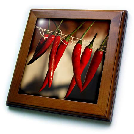 3dRose Alexis Photography - Food Chili Pepper - Red Chili Peppers Hangs on a Rope in a Row - 8x8 Framed Tile (ft_292855_1)
