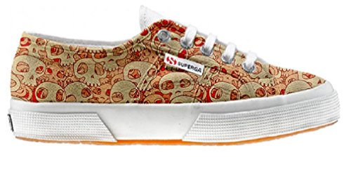 Superga Customized Chaussures Coutume Orange Skull (produit artisanal)