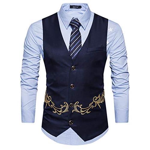41vgsUzenhL. SS500  - Yomis Men's Formal Suit Waistcoat Tuxedo Slim Fit Casual Business Dress Vest Tops