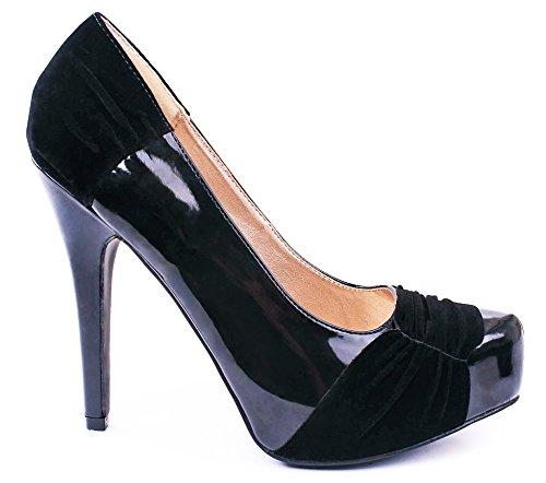 System Ruched Velvet Faux Patent Platform Dress Pumps Black WO4Z9os