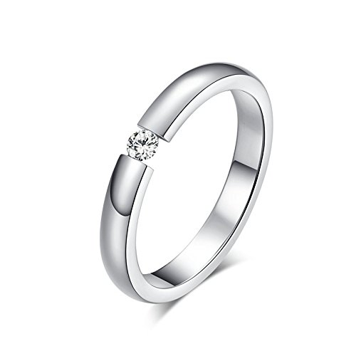 3mm Stainless Steel Women's Single Cubic Zirconia Wedding Ring Bands,Silver , Size 8