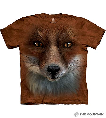 The Mountain Big Face Fox Adult T-Shirt, Rust, Small (Adult Fox T-shirt)
