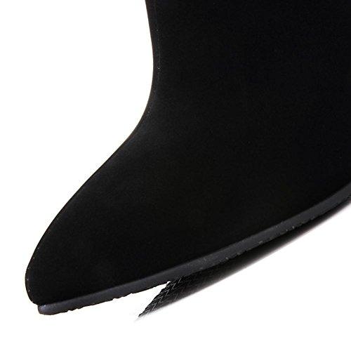 H HQuattro stagioni donne (nero. Colore) colore dopo la cerniera Tacchi alti placcatura fine e gomma usura-resistenza stivali corti a punta , color , 40