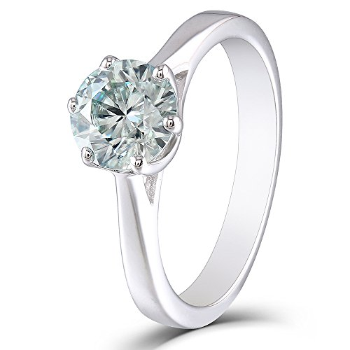 TransGems 1ct 6.5mm Round Cut 2.6mm Band Width Lab Grown Moissanite Engagement Ring Platinum Plated Sterling Silver(5.5)