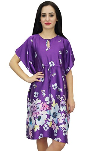 Bimba Womens Short Kimono Printed Satin Blumenbrautjungfer Kaftan Lila