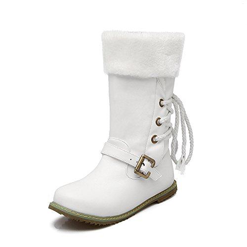 DYF Zapatos botas de gran tamaño tira de color sólido cinturón cálido de fondo plano. White