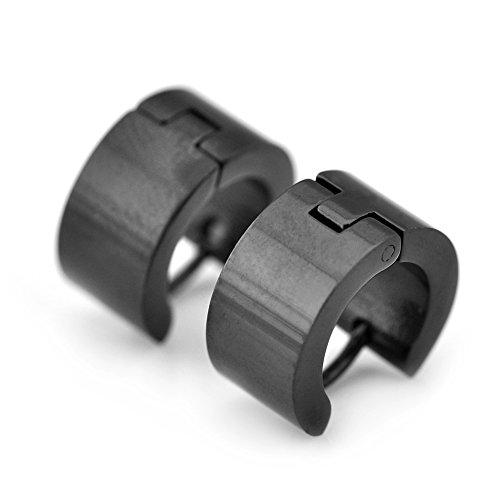 Sirius Jewelry Plain Black Hoop Earrings Earrings, Gift Box
