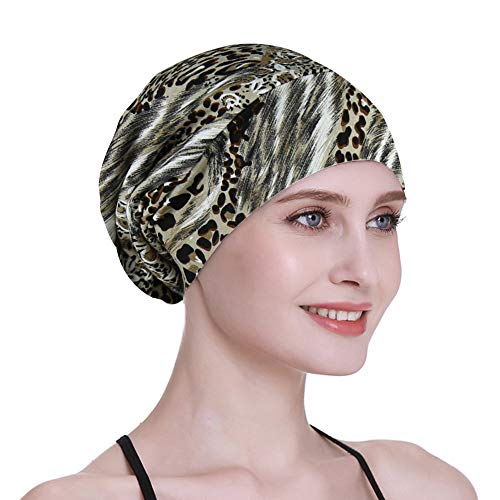 Comfortable Satin Lined Sleep Cap Smooth Fabric Hats for Curly Hair Tiger Stripe (Soft Fabric Hair Accessory)