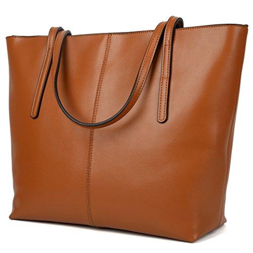Yaluxe Donna Borse a mano per lavoro /scuola/ viaggio Vero Pelle shopper Stile semplicemente elegante Borse a tracolla marrone