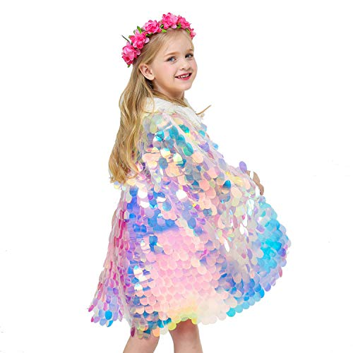 Echolife Girls Mermaid Sequins Cloak Glistening Princess Cape Fancy Dress for Halloween Cosplay Costume Party Props (Rainbow, S)