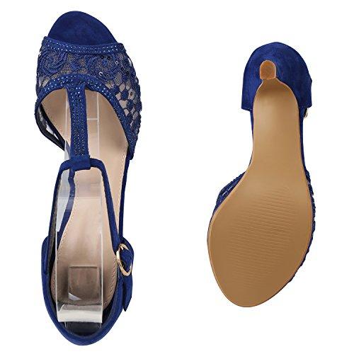 Stiefelparadies Damen Sandaletten Glitzer Riemchensandaletten Lack Party Schuhe Metallic Stiletto High Heels Strass Abendschuhe Abiball Flandell Blau Spitze