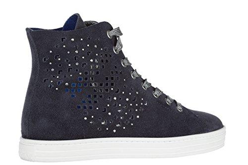 Hogan Rebel zapatos zapatillas de deporte largas mujer en ante nuevo r182 blu