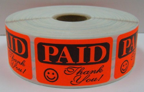 1000 Labels of the 1.25x2 RCR Bright Red PAID THANK YOU Retail Price Point Labels Stickers