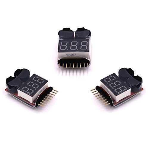 LHI 3 pcs 2 in 1 RC 2-8s Lipo Li-ion LiMn Li-Fe Battery Checker with Low Voltage Buzzer Alarm and LED Indicator