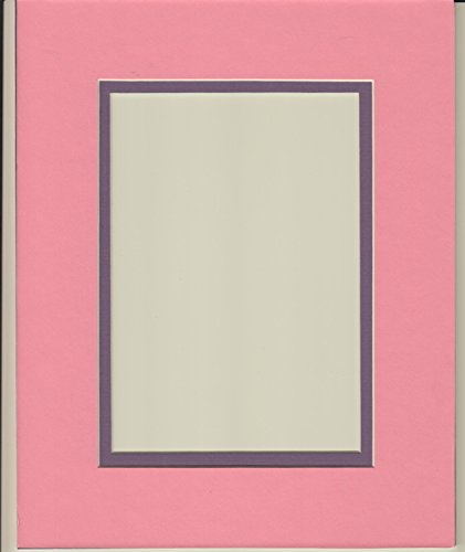 Pack of 5 11x14 Bubble Gum Pink & Purple Double Picture Mats Cut for 8x10 Pictures -