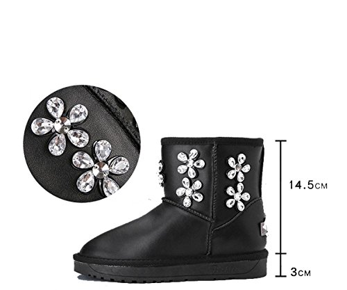 NSXZ Thickened rhinestones leather snow boots warm winter boots , 120W