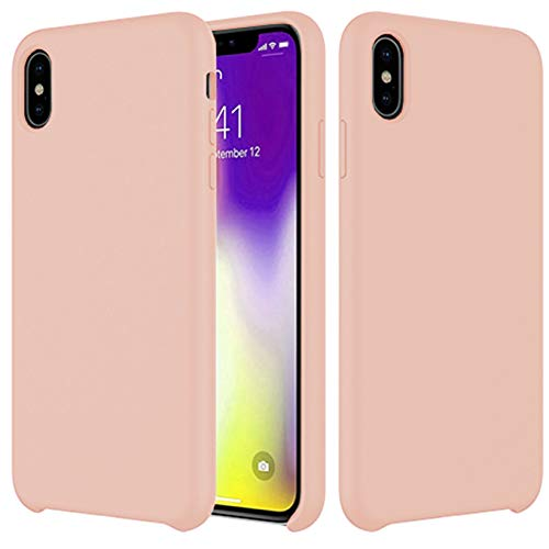 Compatible with iPhone XR Liquid Silicone Case,Gel Rubber Full Protection Shell with Soft Microfiber Lining Cushion Slim Support Wireless Charging Precise Cutouts Cover Pink