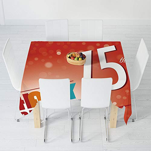 Custom Tablecloth,75th Birthday Decorations,for Home & Office & Restaurant Table Tea Table,55 X 55 Inch,Old Age Seventy Five Years Party Invite