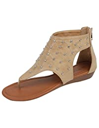 Hazel's Jewel Gladica Gladiator Sandal with Back Zip Closure and Moderate Heels