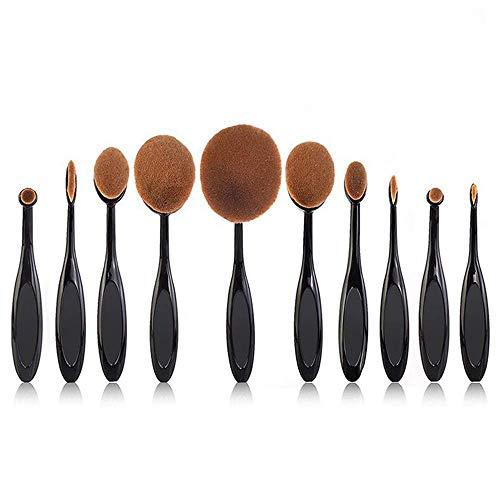 Beauty Kate Pro 10 Pcs Oval Makeup Brush Set Foundation Contour Concealer Blending Cosmetic Brushes +1 Brush ()