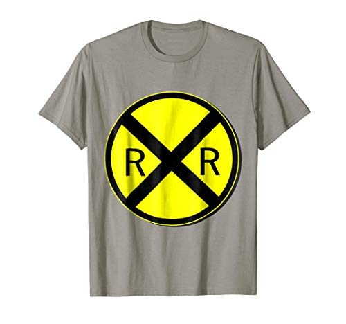 Mens Railroad Crossing Sign Simple Easy Halloween Costume T-Shirt 2XL Slate -