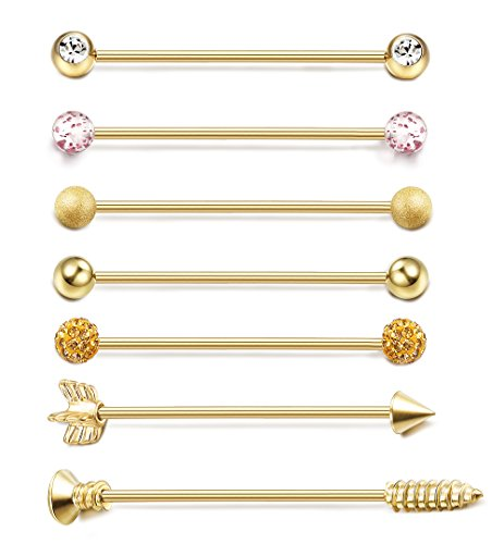 ORAZIO 7PCS 14G Stainless Steel Industrial Barbell Earrings for Women Men Cartilage Helix Piercing Jewelry Gold Tone 1 1/2 -