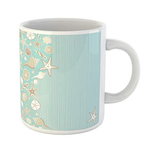 Semtomn Funny Coffee Mug Seashell Beach Party Variety of Shells on Aqua Teal 11 Oz Ceramic Coffee Mugs Tea Cup Best Gift Or Souvenir