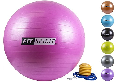 Fit Spirit Pink Exercise Balance Fitness Yoga Ball with Pump - 65CM