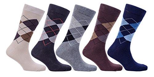 Socks n Socks - Men's 5-pair Luxury Turkish Classic Stripe Cotton Dress Socks