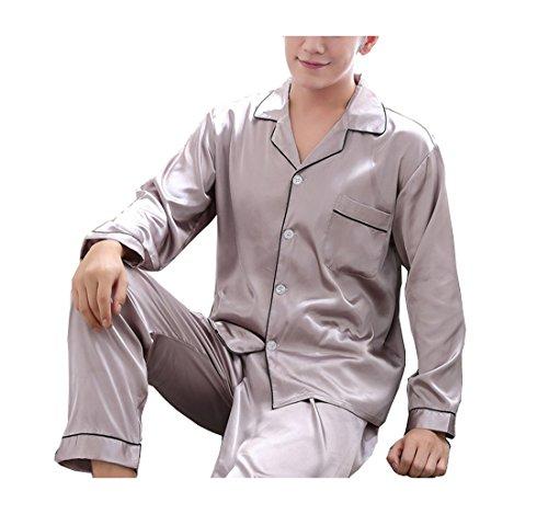 Respeedime Autumn Home Service Silk Pajamas Summer Men 's Long Sleeved Trousers Sets Sleepwear Purple-Gray Size XL