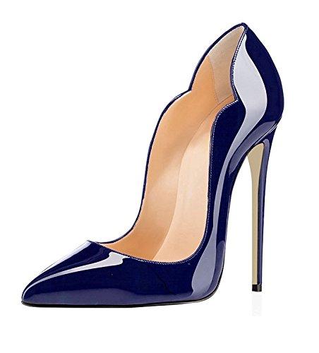 EDEFS Damen Spitze Zehe Schuhe 120mm High Heel Pumps Hohen Absätzen Geschlossen Abendschuhe Darkblue