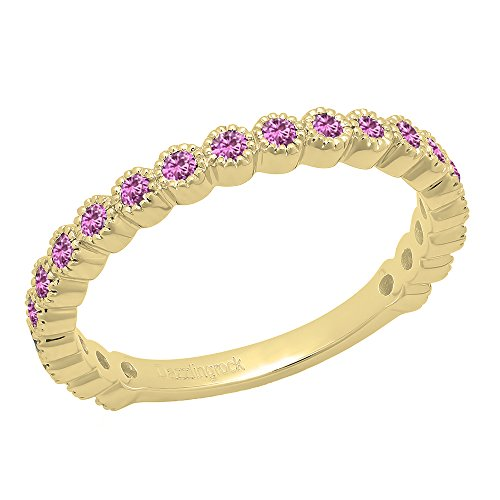 Dazzlingrock Collection 14K Round Pink Sapphire Eternity Stackable Anniversary Wedding Band, Yellow Gold, Size 7 ()