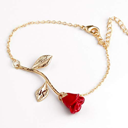 (Red Petal Rose Bracelet in Gold Beauty and the Beast Rose Bracelet Initial Bracelet Christmas Gifts for Mom (K))