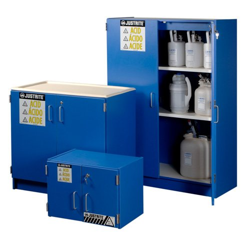 Justrite Manufacturing Company LLC 24120 - Acid & Corrosives Safety Cabinet, Blue, Bench Top Style, 2, 0 Shelves, 18-1/2 x 24 x 16