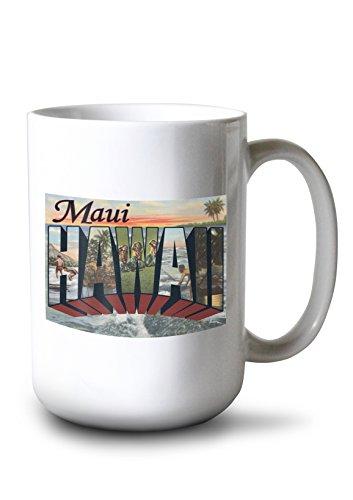 Maui, Hawaii - Large Letter Scenes - Vintage Halftone (15oz White Ceramic Mug) (Scene Large Mug)