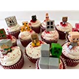 Set of 24 miner themed cupcake toppers by Black Cat Gift Co.