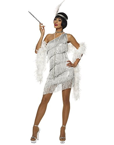 Dazzling Flapper Adult Costume Silver - Large -