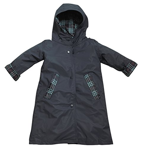 Fit Rite Boys Girls Hooded Waterproof Long Raincoat Full Length Rain Jacket for Children and Toddler with Reflective Stripes (14/16, Navy) by Fit Rite