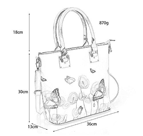 Patent Ladies bags women Shopper Decoration Goodies Shoulder Bag Butterfly PVC Black1 bag Grace for handbags Designer Tote TFHBw8q