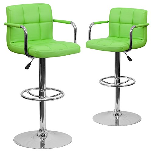 Flash Furniture 2 Pk. Contemporary Green Quilted Vinyl Adjustable Height Barstool with Arms and Chrome Base ()