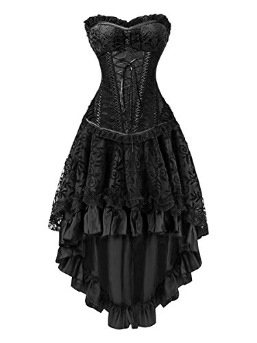 Killreal Women's Sexy Masquerade Steampunk Gothic Burlesque Costume Corset with Hi Low Skirt Set Black Small